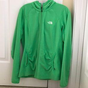 Ladies green The North Face zip up hoodie L